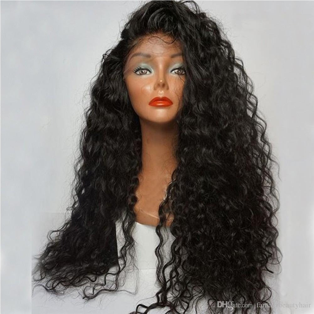 180% Denstiy Glueless Pre Plucked Lace front Synthetic Hair Wigs Curly Wig Heat Resistatn Fiber With Baby Hair