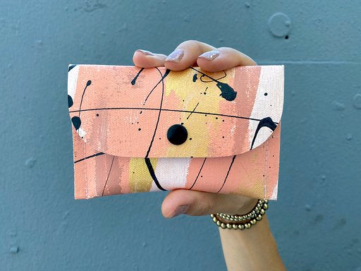 lioness hand painted canvas wallet