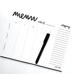 weekly menu with tear-off market list