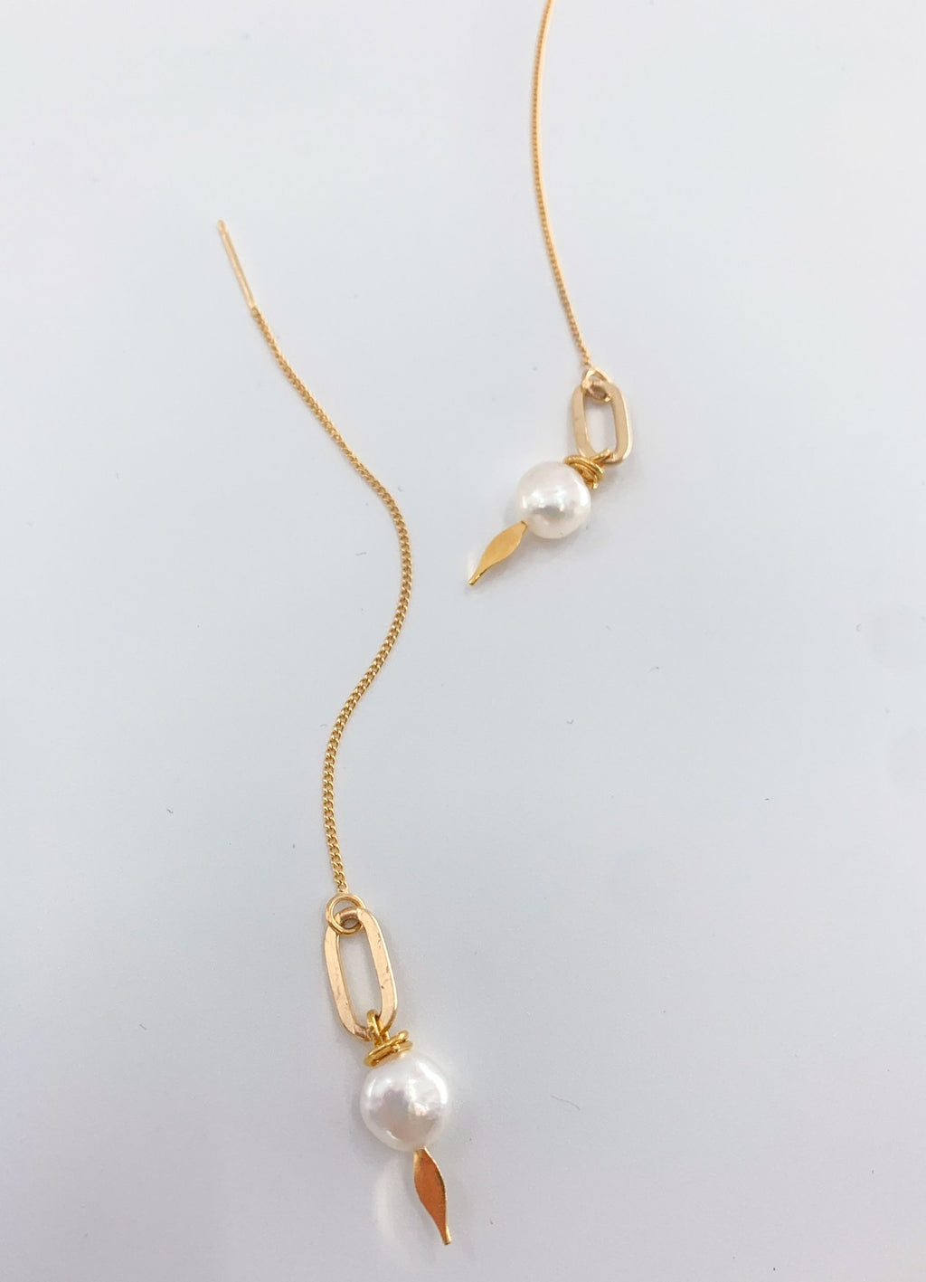 pearl statement threader earrings