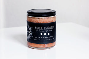 full moon rose + cardamom sugar scrub