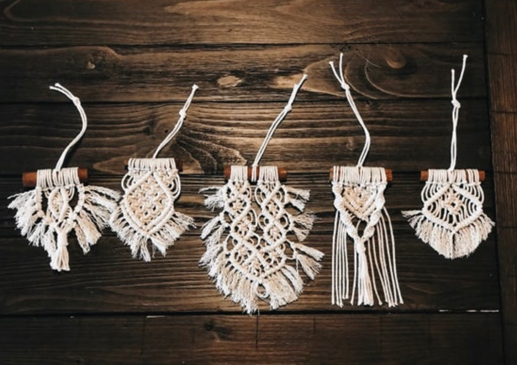 traditional macrame christmas ornaments set of 5