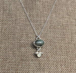 labradorite and moonstone sterling necklace