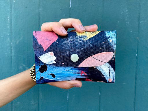 koi pond hand painted canvas wallet