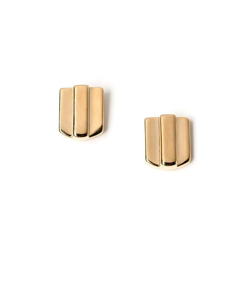 14k gold layered dome stud earrings