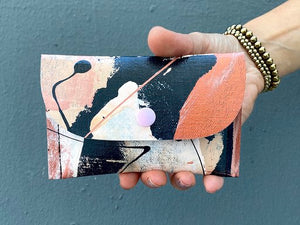 moonlight hand painted canvas wallet