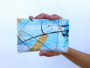 golden skies hand painted canvas wallet