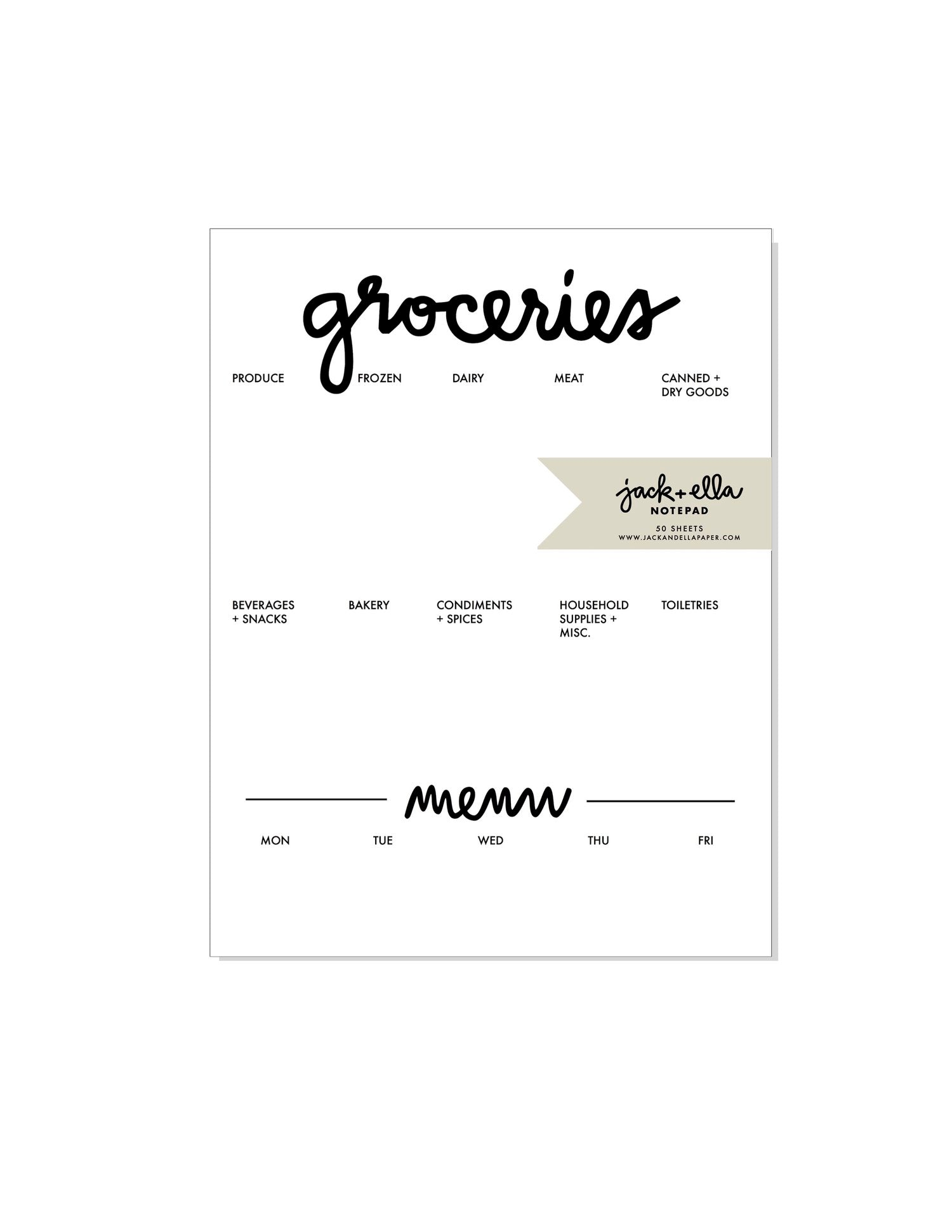 grocery list notepad with dinner menu