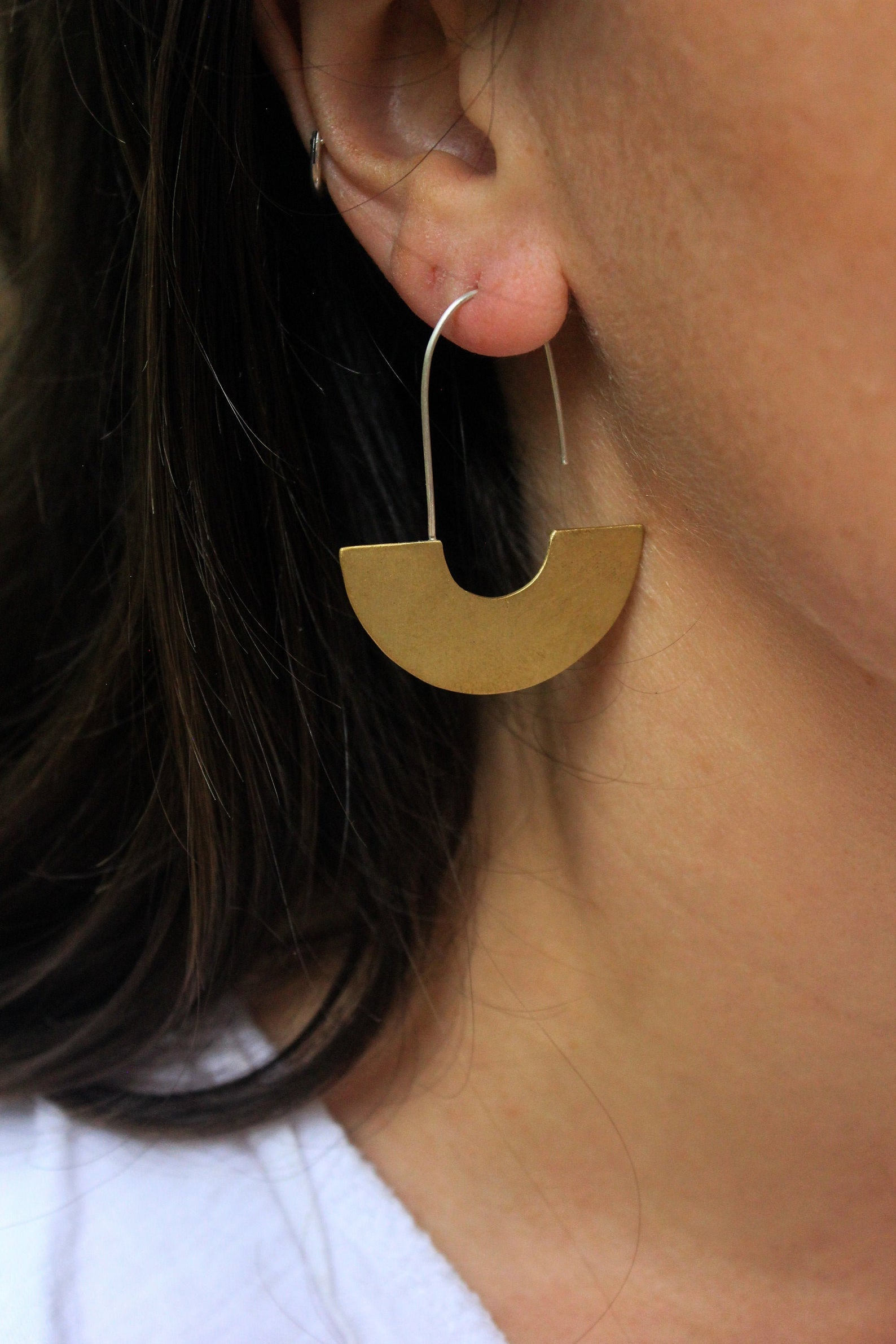 crescent moon geometric earrings
