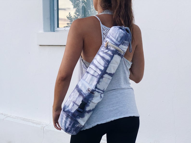 blue dyed yoga mat bag - small