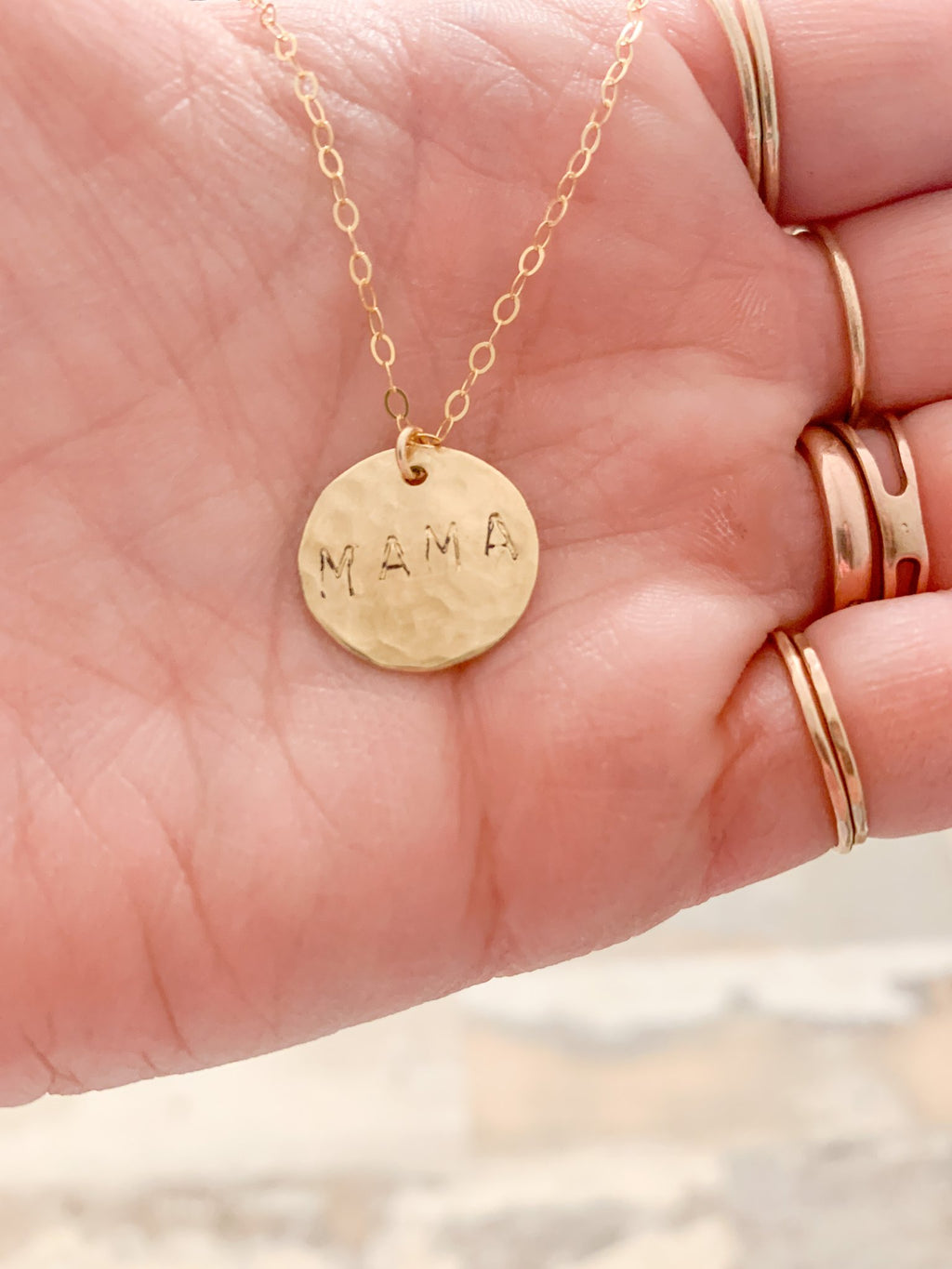 hammered mama necklace