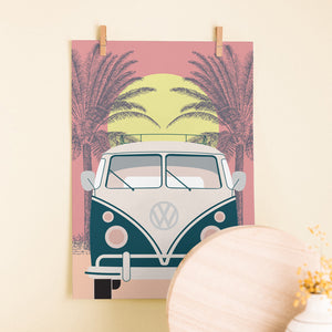 VW bus sunset print