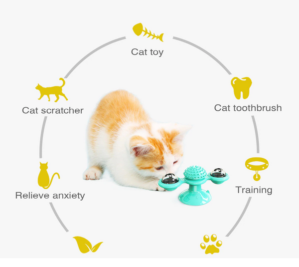 Cat Windmill Funny Massage Rotatable Toy