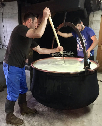 L'Etivaz being made in the traditional copper cauldron