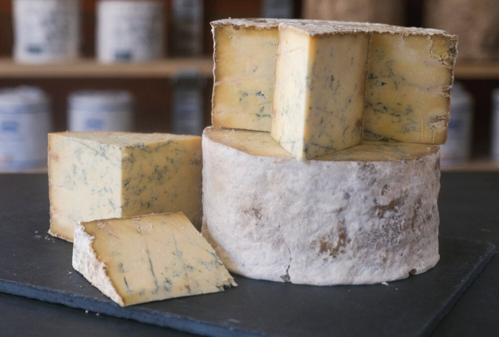 Display of Sparkenhoe Blue, an unpasteurised crumbly blue cheese from Leicestershire, made with cow's milk