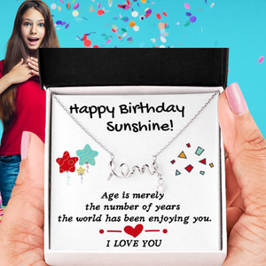 HAPPY BIRTHDAY SUNSHINE LOVE NECKLACE | MESSAGE CARD | GIFT BOX - ON CLOUD NINE GIFTS