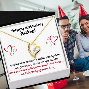 HAPPY BIRTHDAY BABE HEART NECKLACE | MESSAGE CARD | GIFT BOX - ON CLOUD NINE GIFTS