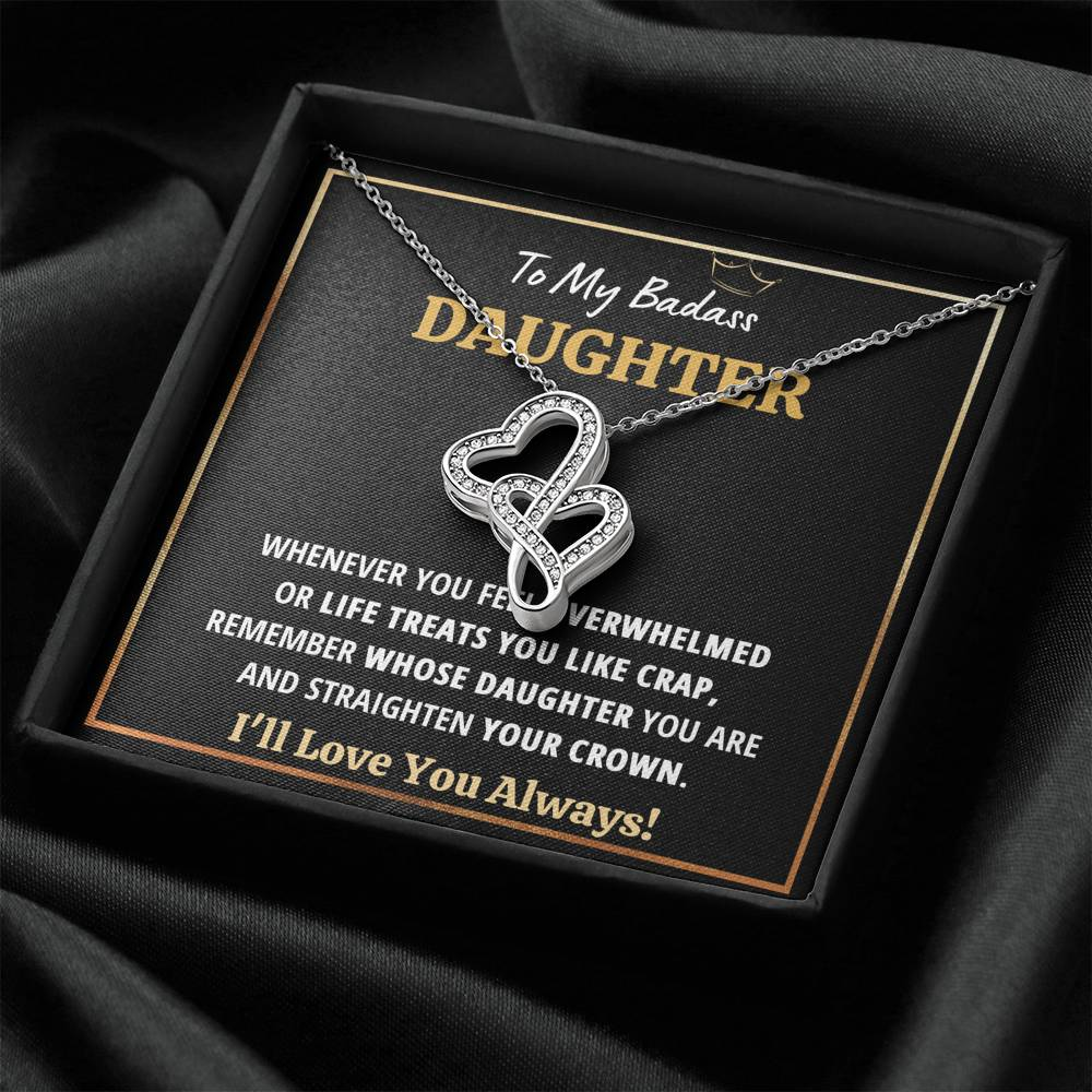 "TO MY BADASS DAUGHTER ""CRAP - BLACK"" DOUBLE HEARTS NECKLACE GIFT SET - ON CLOUD NINE GIFTS"