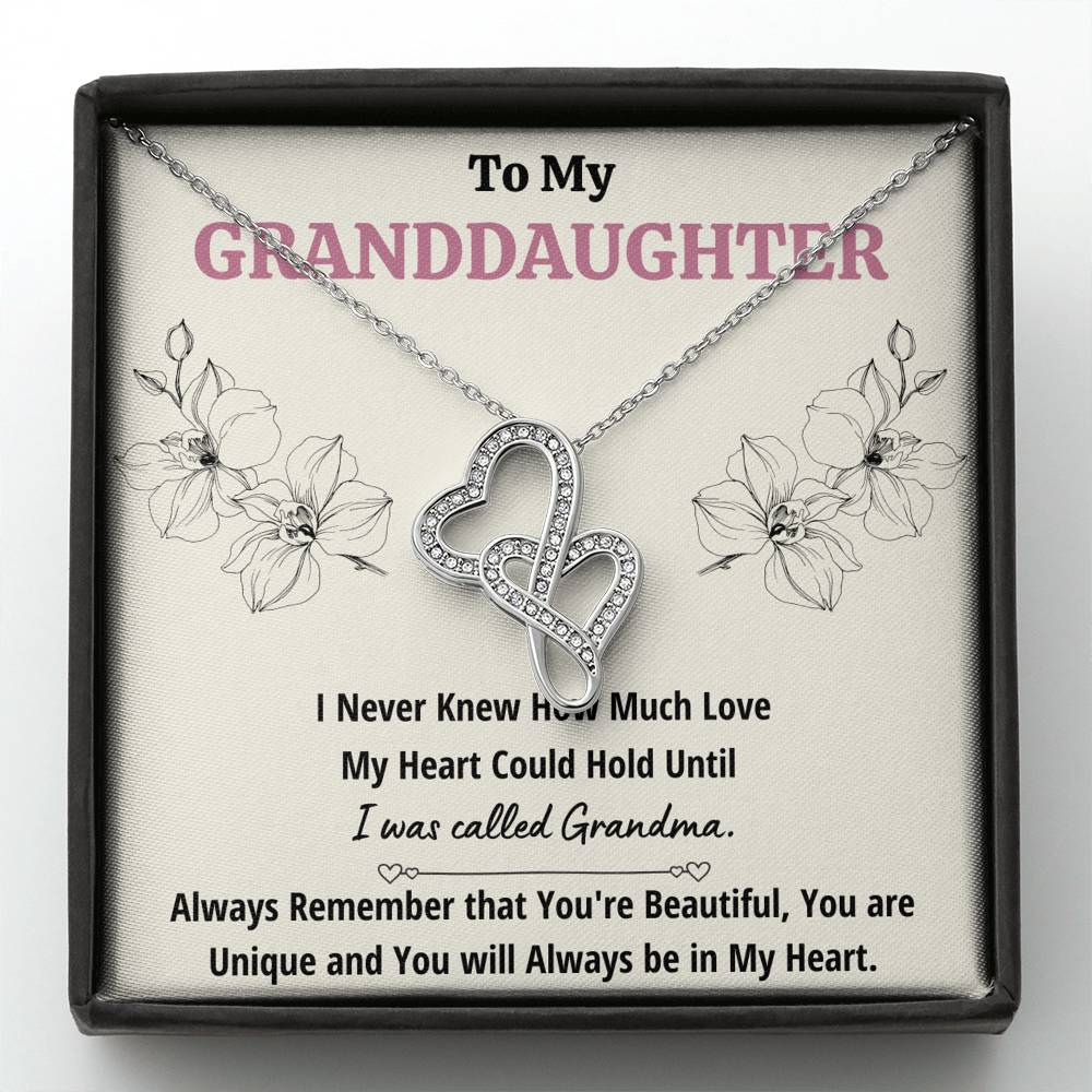 "TO MY GRANDDAUGHTER ""CALLED GRANDMA"" DOUBLE HEARTS NECKLACE GIFT SET - ON CLOUD NINE GIFTS"