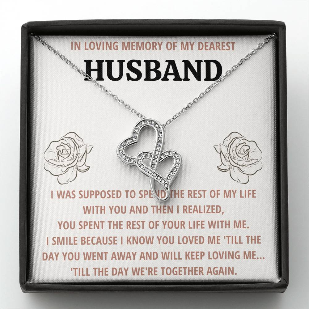 "TO MY HUSBAND ""LIFE"" REMEMBRANCE DOUBLE HEARTS NECKLACE GIFT SET - ON CLOUD NINE GIFTS"