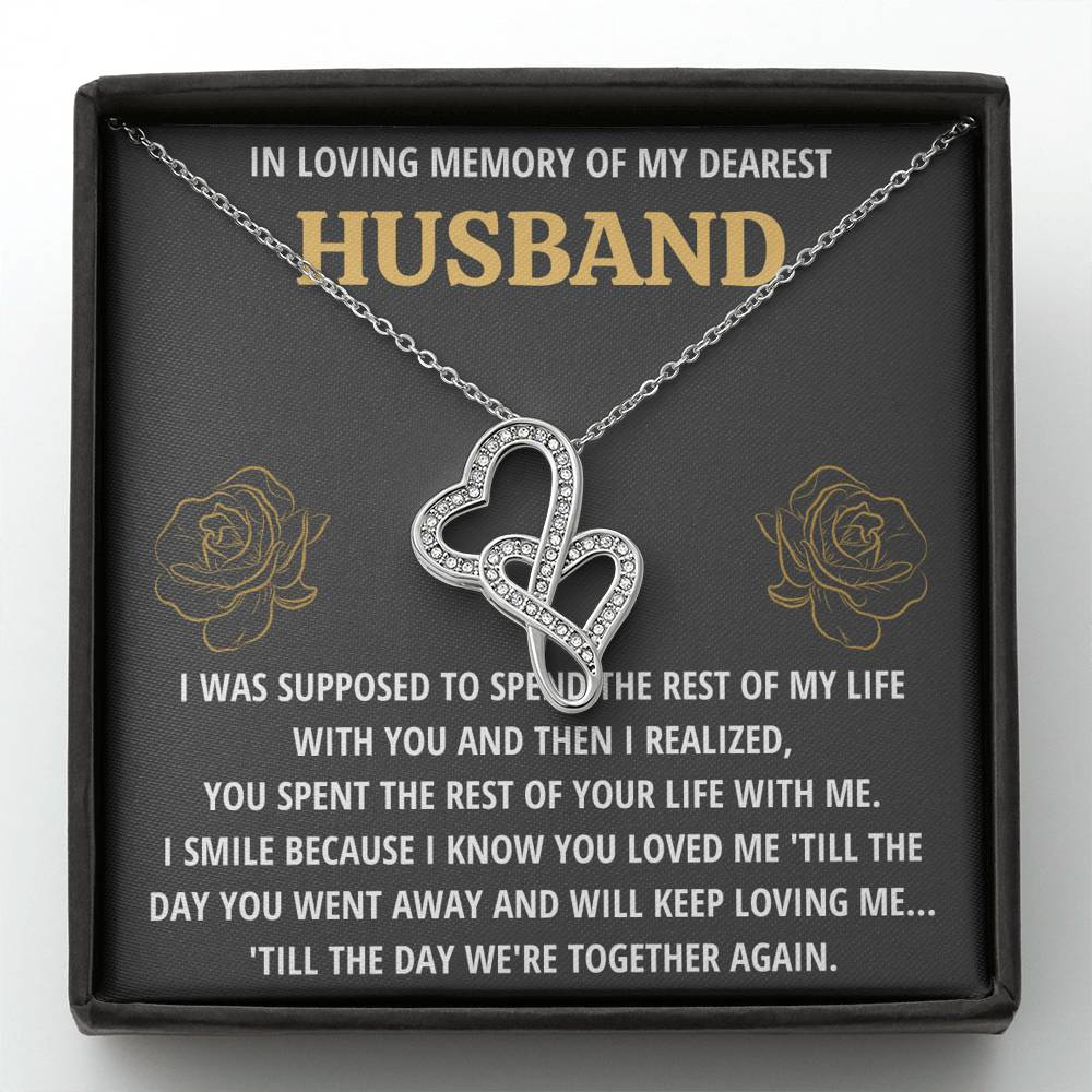 "TO MY HUSBAND ""LIFE - GOLDEN"" REMEMBRANCE DOUBLE HEARTS NECKLACE GIFT SET - ON CLOUD NINE GIFTS"