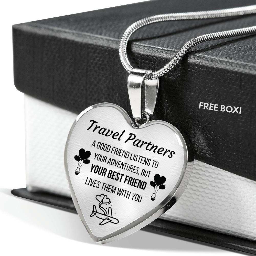 TRAVEL PARTNERS LUXURY NECKLACE | CUSTOM ENGRAVING | GIFT BOX - ON CLOUD NINE GIFTS