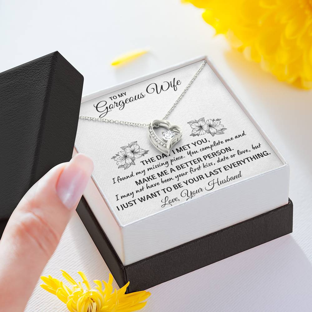 "TO MY GORGEOUS WIFE ""LAST EVERYTHING"" HEART NECKLACE GIFT SET - ON CLOUD NINE GIFTS"