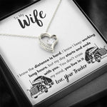 "TO MY WIFE ""LOVE, YOUR TRUCKER"" HEART NECKLACE GIFT SET - ON CLOUD NINE GIFTS"