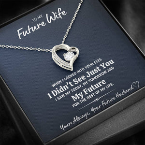 "TO MY FUTURE WIFE ""LOOKED INTO YOUR EYES"" HEART NECKLACE GIFT SET - ON CLOUD NINE GIFTS"