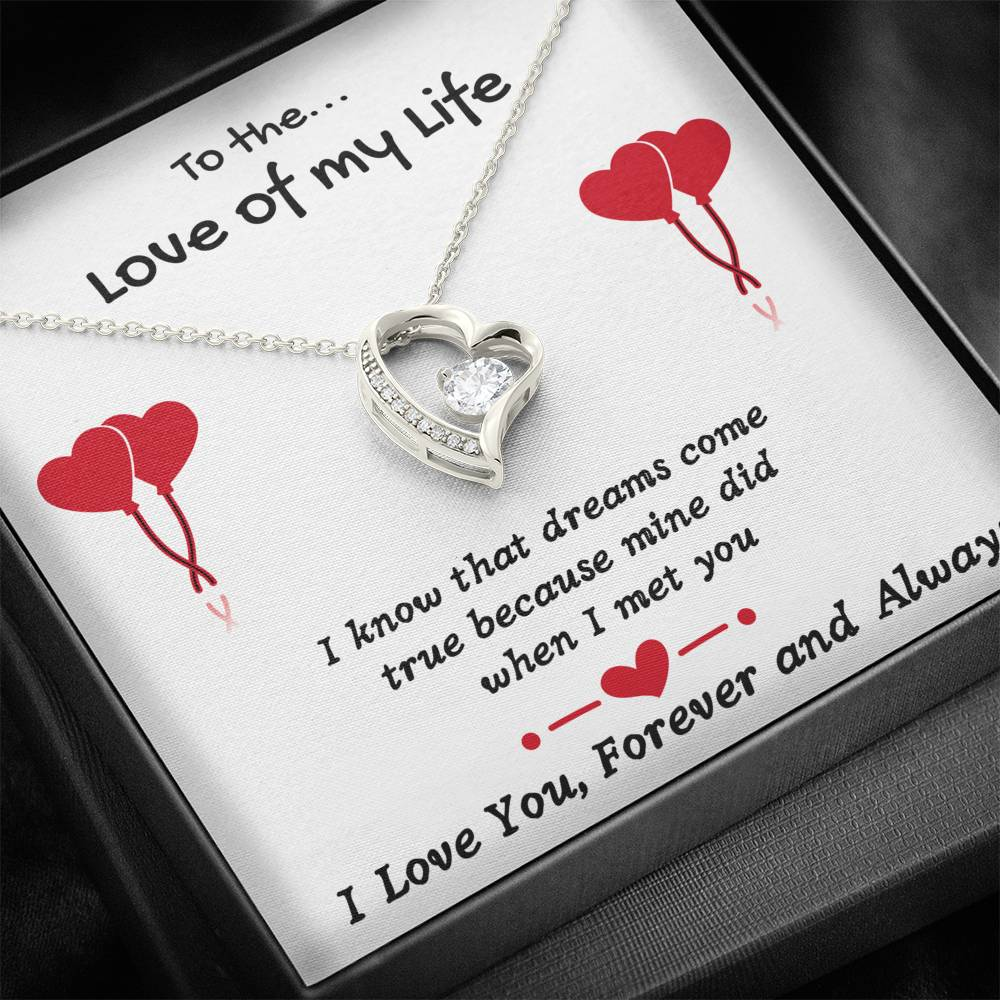 "TO THE LOVE OF MY LIFE ""DREAMS COME TRUE"" HEART NECKLACE GIFT SET - ON CLOUD NINE GIFTS"