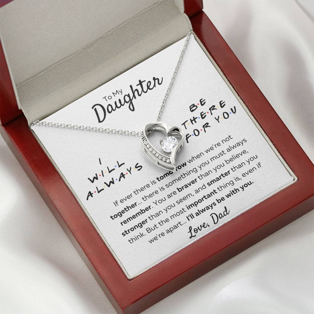 "TO MY DAUGHTER FROM DAD ""THERE FOR YOU - STRONGER THAN YOU SEEM"" HEART NECKLACE GIFT SET - ON CLOUD NINE GIFTS"