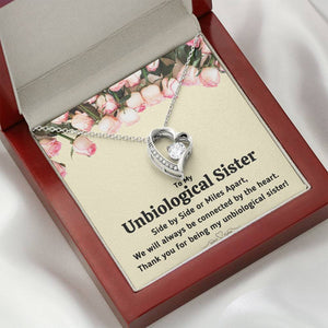 "TO MY UNBIOLOGICAL SISTER ""CONNECTED BY THE HEART"" HEART NECKLACE GIFT SET - ON CLOUD NINE GIFTS"