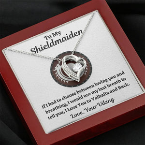"TO MY SHIELDMAIDEN ""BREATHING - RED"" HEART NECKLACE GIFT SET - ON CLOUD NINE GIFTS"