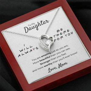 "TO MY DAUGHTER FROM MOM ""THERE FOR YOU - AMAZING JUST AS YOU ARE"" HEART NECKLACE GIFT SET - ON CLOUD NINE GIFTS"
