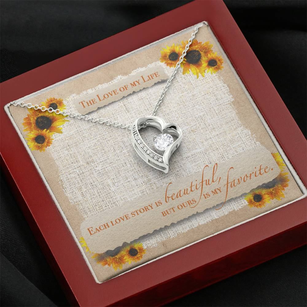 "TO THE LOVE OF MY LIFE ""SUNFLOWER"" HEART NECKLACE GIFT SET - ON CLOUD NINE GIFTS"