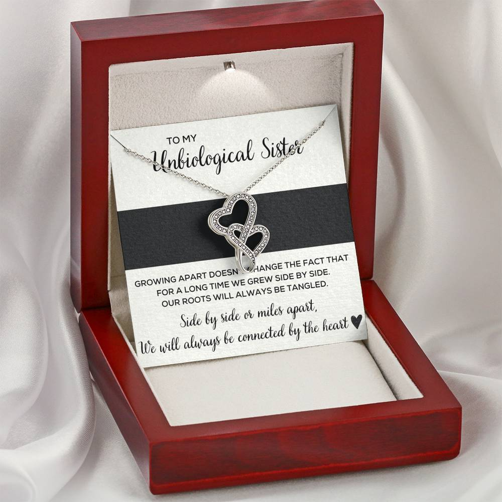 "TO MY UNBIOLOGICAL SISTER ""TANGLED"" DOUBLE HEARTS NECKLACE GIFT SET - ON CLOUD NINE GIFTS"