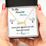 TO MY FAVORITE NURSE LOVE NECKLACE | MESSAGE CARD | GIFT BOX - ON CLOUD NINE GIFTS