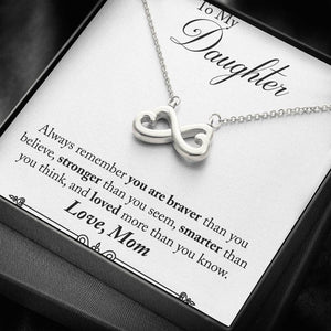 "TO MY DAUGHTER ""STRONGER THAN YOU SEEM - SO"" INFINITY NECKLACE GIFT SET - ON CLOUD NINE GIFTS"