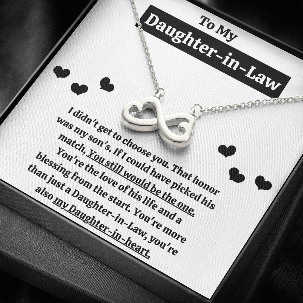 "TO MY DAUGHTER-IN-LAW ""BLESSING FROM THE START"" INFINITY HEARTS NECKLACE GIFT SET - ON CLOUD NINE GIFTS"