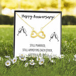 HAPPY ANNIVERSARY INFINITY NECKLACE | MESSAGE CARD | GIFT BOX - ON CLOUD NINE GIFTS