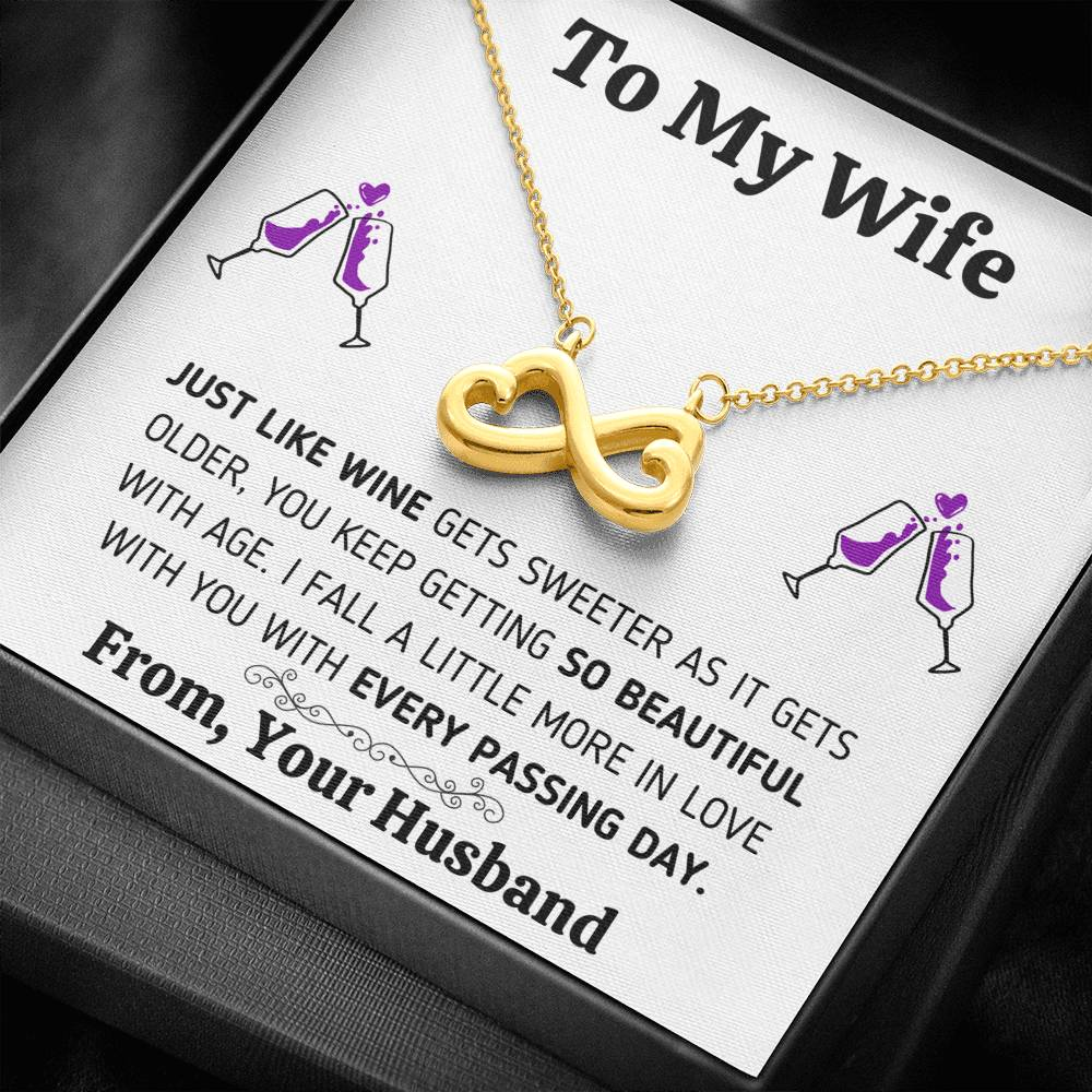 "TO MY WIFE ""JUST LIKE WINE"" INFINITY NECKLACE GIFT SET - ON CLOUD NINE GIFTS"