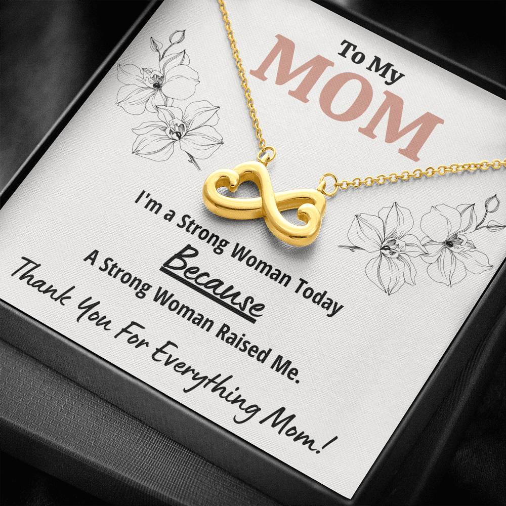"TO MY MOM ""STRONG WOMAN"" INFINITY HEARTS NECKLACE GIFT SET - ON CLOUD NINE GIFTS"