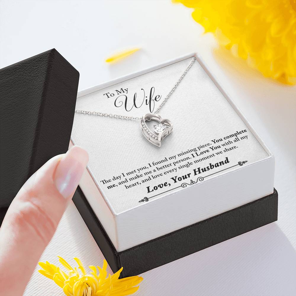 "TO MY WIFE ""MISSING PIECE - SO"" FOREVER LOVE NECKLACE GIFT SET - ON CLOUD NINE GIFTS"