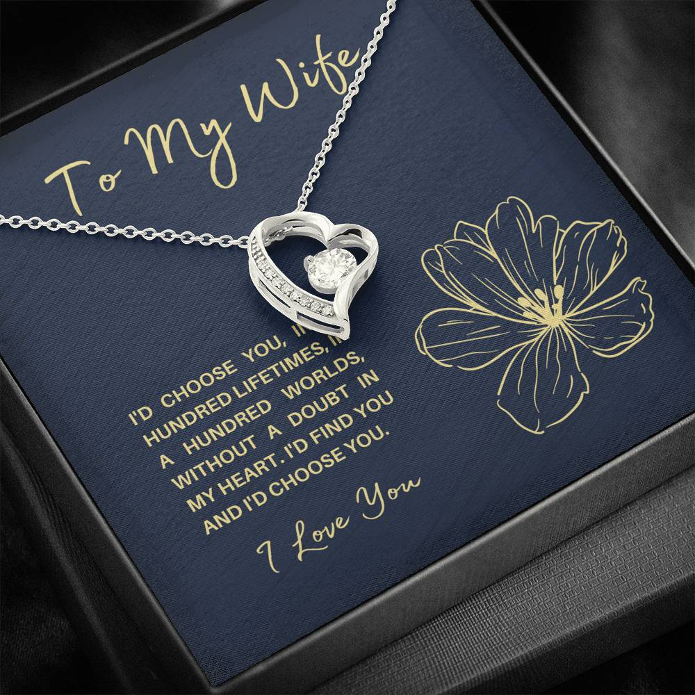 "TO MY WIFE ""HUNDRED LIFETIMES"" FOREVER LOVE NECKLACE GIFT SET - ON CLOUD NINE GIFTS"