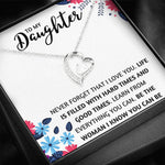 "TO MY DAUGHTER ""THE WOMAN I KNOW"" HEART NECKLACE GIFT SET - ON CLOUD NINE GIFTS"