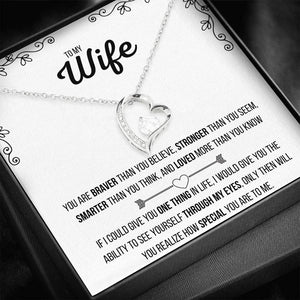 TO MY WIFE FOREVER HEART NECKLACE | MESSAGE CARD | GIFT BOX - ON CLOUD NINE GIFTS