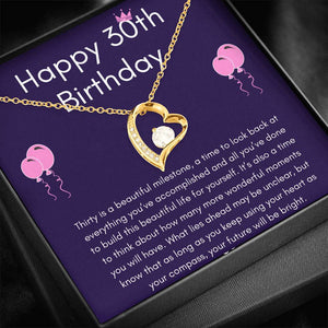 "HAPPY 30TH BIRTHDAY ""THIRTY IS A BEAUTIFUL MILESTONE"" HEART NECKLACE GIFT SET - ON CLOUD NINE GIFTS"