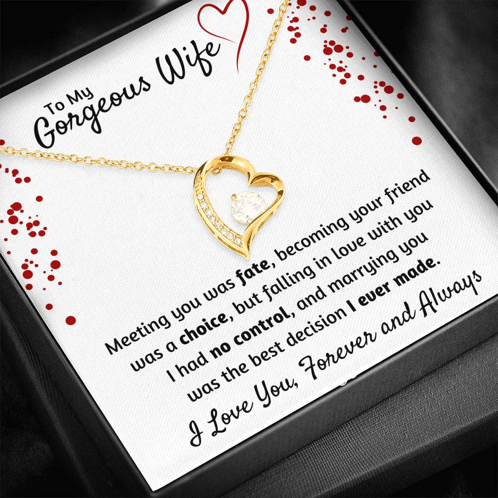 TO MY GORGEOUS WIFE HEART NECKLACE | MESSAGE CARD | GIFT BOX - ON CLOUD NINE GIFTS