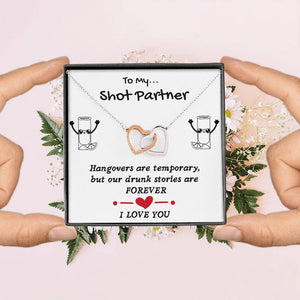 TO MY SHOT PARTNER INTERLOCKING NECKLACE | MESSAGE CARD | GIFT BOX - ON CLOUD NINE GIFTS