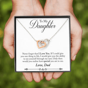 "TO MY DAUGHTER ""ONE THING - SO"" INTERLOCKING HEARTS NECKLACE GIFT SET - ON CLOUD NINE GIFTS"